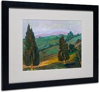 Trademark Fine Art Evergreens on Green Slope Artwork by Manor Shadian, Black Frame