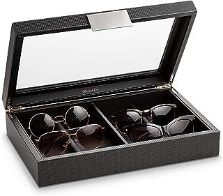 Glenor Co 太阳镜收纳盒 - 8 槽存放架用于展示太阳镜/眼镜 - 现代盒子带透明玻璃顶部和金属扣 男女适用 - 碳纤维皮革设计 - 黑色