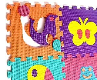 动物橡胶 EVA 泡沫拼图游戏垫地板。 10 个互锁游戏垫片(平铺:30.48X30.48 厘米/22.864 平方米)。 非常适合爬行婴儿、婴儿、课堂、学步儿童、儿童、健身锻炼