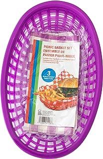 Best Brands 三明治和筹码野餐篮套装,6 个衬垫和 3 个篮子 紫色 3 件装 4336577236
