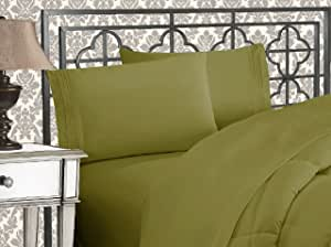 Elegant Comfort 4 Piece 1500 Thread Count Luxurious Ultra Soft Egyptian Quality Coziest Sheet Set, King, Sage
