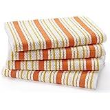 棉质工艺–4件装超大厨房毛巾,20x 30,100% 纯棉, crisp BASKET 编织条纹图案,方便的悬挂活套–吸水性强,专业级品质,柔软结实