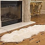 Genteele 豪华澳大利亚仿羊皮地毯 - 柔软毛绒白色人造毛皮优雅小地毯.