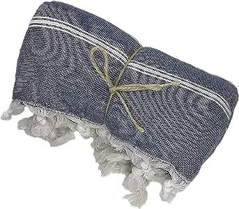 Buld&Co XL 土耳其毛巾带柔软棉质毛巾布背,条纹土耳其沙滩毛巾,大尺寸多功能宠物健身桑拿浴池毛巾,吸水轻便土耳其汉姆毛巾 *蓝 39x59