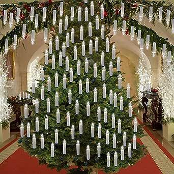圣诞树蜡烛灯带夹,ALDDN LED 无焰蜡烛,象牙色锥形蜡烛,遥控,滴水效果,电池供电 白色 10Pcs - Included 1 Remote Control AL10PCS1RC01