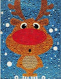 Caferria 5D 钻石绘画套装适合儿童轻松小巧 DIY 全钻绘画数字套件送给儿童的*佳礼物水钻刺绣家居墙壁装饰带木框(鹿)