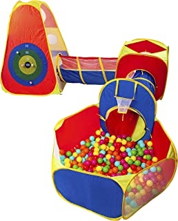 BalanceFrom 5 件套球拍帐篷和隧道,幼儿丛林健身房玩耍帐篷,带爬行隧道,不包括坑球
