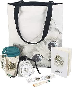 可爱的礼物包,适合爱猫人士,带猫咪手提袋、旅行杯、日记笔记本、书签、旅行镜或可爱的猫别针。 令人印象深刻,迷人。 生日、圣诞节的完美选择 淡紫色(Sage) 5-Gifts