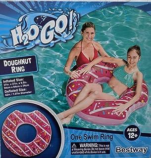 H2OGo 彩色充气磨砂粉色甜甜圈/甜圈游泳泳池游泳圈 适合 12 岁及以上儿童 - 37 x 37 x 9.5 英寸(约 94.0 x 94.0 x 24.1 厘米)