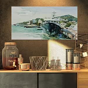 "Designart ""Yacht in Port Yalta Landscape""帆布艺术画印刷品 绿色 32x16"" PT6565-32-16"