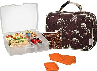 Bentology 男孩午餐袋和盒子套装 - 包括带手柄的隔热袖套、便当盒、5 个容器和冰袋 Dinosauar Fossils
