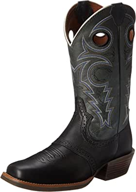 Justin Boots Men's Justin's Silver Collection 12 Inch Western Boot, Black, 7.5 W US