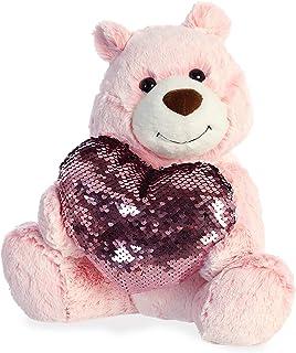 Aurora 11 英寸闪亮心形熊粉红色