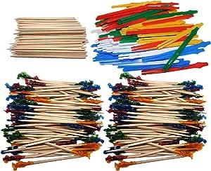 一套! 终极派对拨片 - 优质塑料、木质和褶边牙棒! 非常适合派对、餐饮、活动、三明治、学徒、鸡尾*会等场合! Yellow, Green, Blue, Red, Tan, Blue