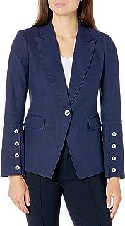 Tahari ASL 女式小款前纽扣袖尖领夹克
