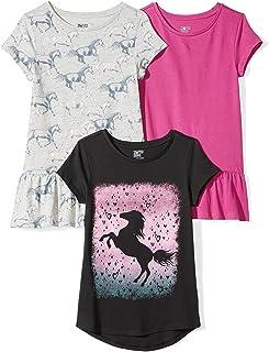 Amazon Brand - 斑馬女童幼兒和兒童 3 件裝短袖束腰上衣