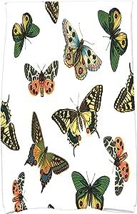 "E by Design Butterflies 厨房毛巾灰褐色 白色 16"" x 25"" KTAN491WH1"