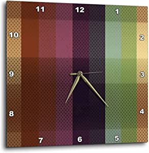 """3dRose dpp_213774_2 Blue, Pink, Green, Brown Wide Stripes with Dots Wall Clock, 13 x 13"""""""