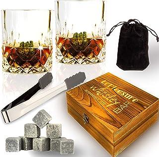 Soapstone Whiskey 宝石玻璃杯套装 - 13 合 1 - *好的 Scotch 威士忌礼盒,含 8 颗黄石钻 - 2 颗水晶独角玻璃杯和防滑夹子 - Cool Whiskey 棒套装男女皆宜