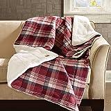 "Woolrich Tasha 145GSM Softspun Down Alternative Filled Throw Blanket, 50""x70"", Red"
