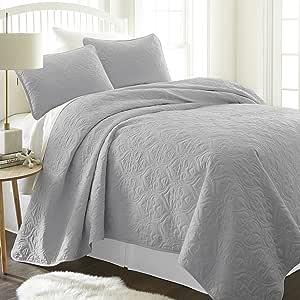 ienjy Home 花缎图案绗缝枕套套装,单人床,灰色