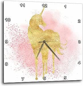 """3dRose PS 动物 - 腮红闪耀五彩纸屑图案金独角兽 - 挂钟 13 x 13"""" dpp_274289_2"""
