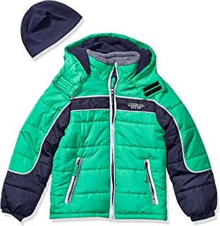 LONDON FOG Boys' Big Color Blocked Puffer Jacket Coat with Hat