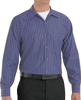 Red Kap 男式工业 7 粒扣工作衬衫 Grey/Blue Stripe 5X-Large