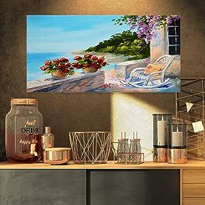 "Designart Balcony Near the Sea Landscape 油画油画印刷品 32x16"" PT8526-32-16"