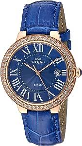 Oniss Paris 女士石英不锈钢皮革正装手表,颜色:蓝色(型号:ON3322-LRG/BU)