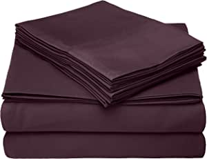 Cathay Home 系列微喇叭豪华床单套装 茄紫色 Queen 108219-Q-EGG