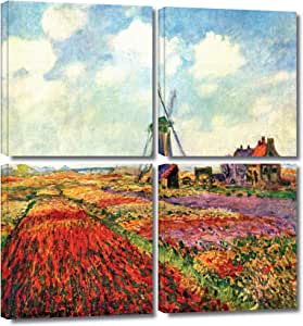 ArtWall 'Windmill' 4-Piece Gallery-Wrapped Canvas Art by Claude Monet, 36 by 36-Inch