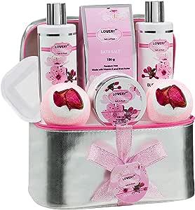 沐浴和身体水疗礼品篮套装 适合女士 - 樱花家庭水疗套装,含香水润乳液,2 个超大沐浴炸弹,镜子和银色可重复使用旅行化妆包等