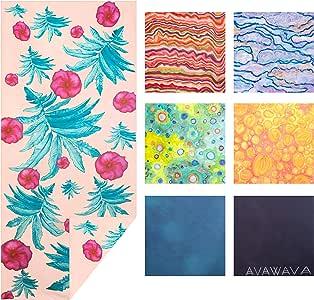 AVAWAVA 超细纤维海滩旅行毛巾 - 150% 厚 300 GSM 超细纤维 - XL 198.12 x 90.17 - 双面手工绘制设计,适用于禅风和好运 - 防沙,折叠紧凑,速干