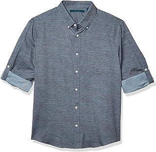 Perry Ellis 男式无褶皱粗纺条纹提花长袖系扣衬衫