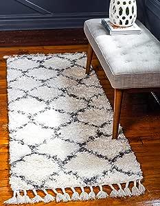 Unique Loom 3143694 Lagom Shag Collection 格子花架毛绒舒适圆形地毯-P
