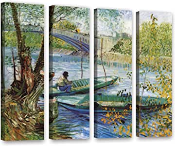 """ArtWall 4 Piece """"Vincent Vangogh's Fishing in Spring The Pont De Clichy (Asnieres)"""" Gallery Wrapped Canvas Artwork, 36"""" x 48"""""""