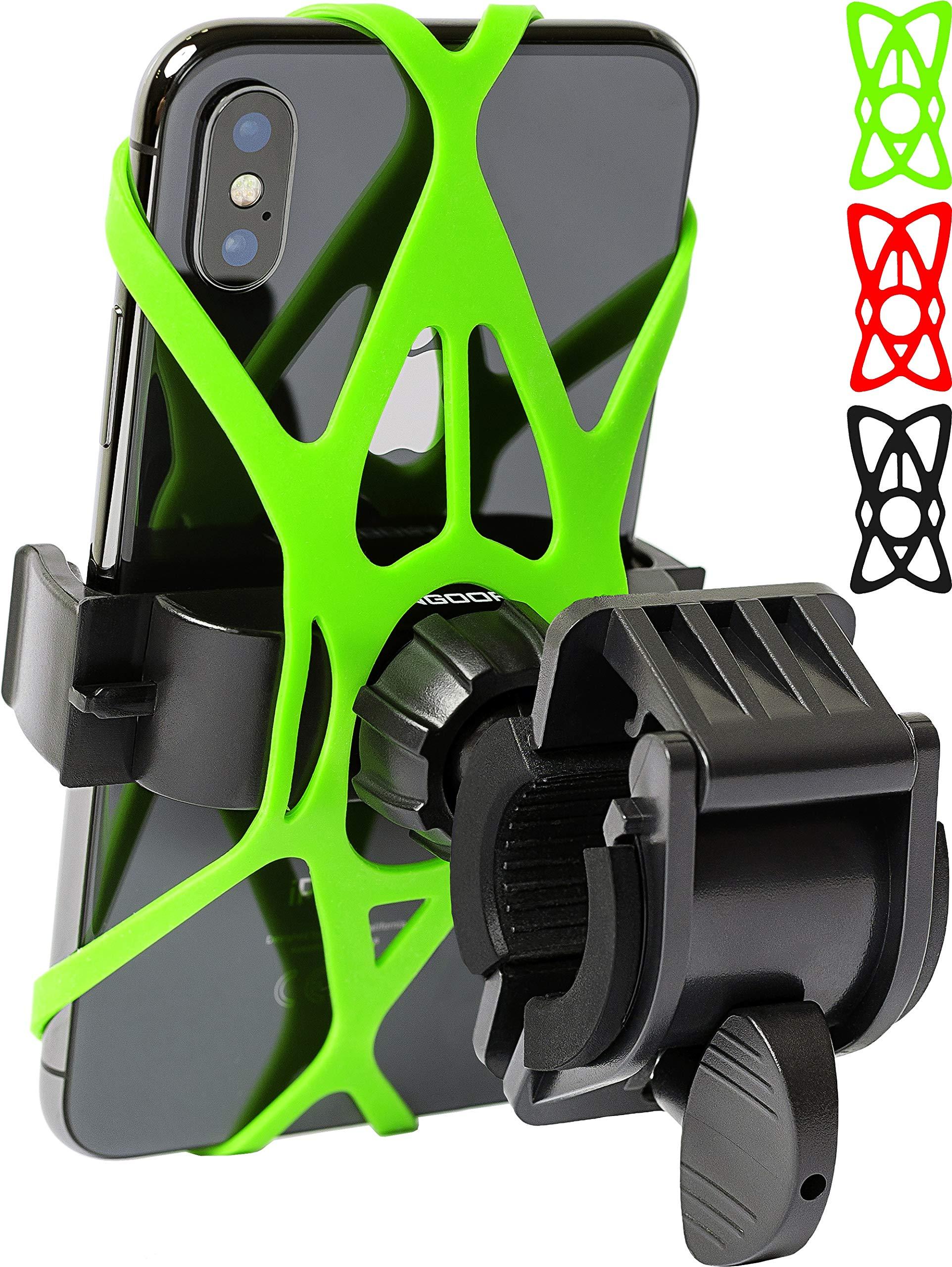 任意のスマートフォン自転車電話ホルダーに適用されます:iPhone X 8 7 6 5プラスサムスンギャラクシーS9 S8 S7 S6 S5 S4エッジ、ネクサス、ノキア、LG。オートバイ、自転車電話ホルダー。マウンテンバイクホルダー。自転車アクセサリー。