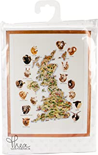 Thea Gouverneur TG1076A 十字绣套件 64.77 厘米-85.09 厘米-英国绵羊地图(18 件)