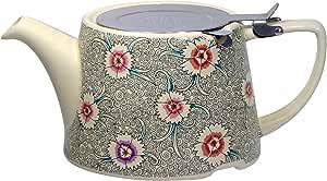 London Pottery Company Kaffe Fassett 椭圆形过滤器陶瓷茶壶 奶油色 23 x 12.5 x 23 cm 44140