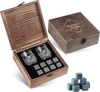 威斯基石礼品套装 - 8 支花岗岩 Whisky Rocks- 2 支木盒水晶射击玻璃杯 - BROTEC *佳*佳饮料优质棒配件
