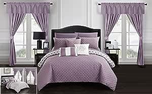 Chic Home Sigal 20 件套双面几何绗缝设计 包床上用品 - 床单装饰枕枕套窗帘 包括窗帘 紫色(Lavender) King CS8155