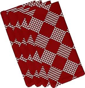 "E by Design Jump for Joy Check It Twice 节日几何图案餐巾纸 - 4 件套 红色 19 x 19"" N4HGN708RE1"