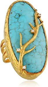 "Azaara ""Hot Rocks"" 22k Yellow Gold-Dipped Cubic Zirconia and Turquoise Branch Ring, Size 7"