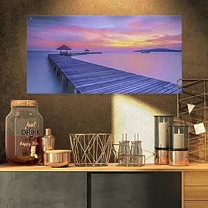 """设计艺术长木桥入日落海贝尔墙壁艺术油画印刷品,50.80x30.48cm 32x16"""" PT10594-32-16"""