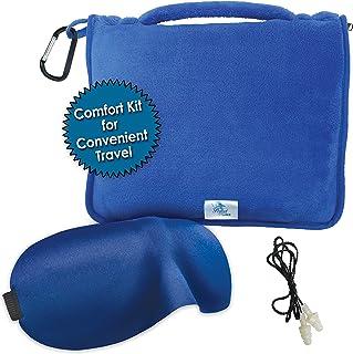 MPN 旅行毯套装,轻质,便携,珊瑚绒带拉链手提袋,尺寸43 x 59,可作为软腰支撑枕,旅行枕,免费眼罩和耳塞