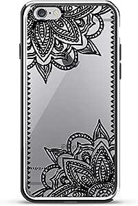 Luxendary Texas 家居:黑色透明设计镀铬系列手机壳适用于 iPhone 6/6S PlusLUX-I6PLCRM-MANDALA5 BLACK LACE MANDALA iPhone 6 Plus 5.5 Inch 银色