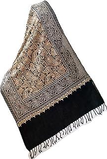 密集的圆领刺绣披肩,金色和银色色调,黑色羊毛花卉佩斯利涡旋纹图案