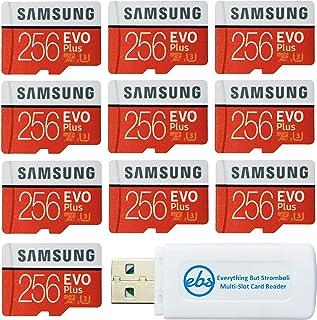 Samsung 三星 256 GB Evo Plus 微型 SD 卡(10 包 EVO + 套装)Class 10 SDXC 内存卡带适配器(MB-MC256G)带 (1) Everything But Stromboli Micro & SD...