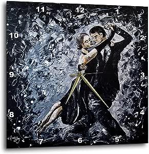 Mandy Joy 创作的 3dRose Art - 舞者 - 一对情侣交际舞的现代印象派艺术。 - 挂钟 白色 15x15 Wall Clock dpp_291491_3